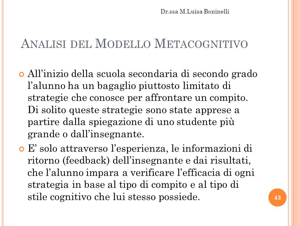 Analisi del Modello Metacognitivo