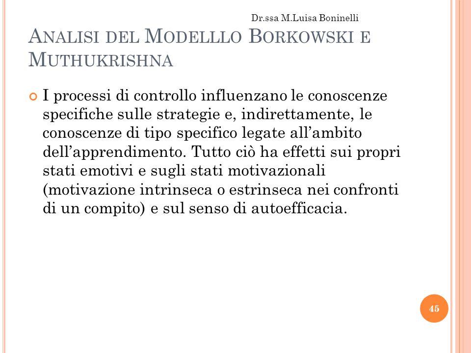 Analisi del Modelllo Borkowski e Muthukrishna