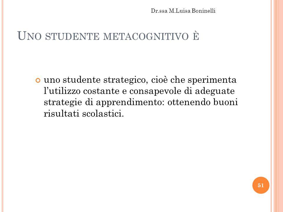 Uno studente metacognitivo è
