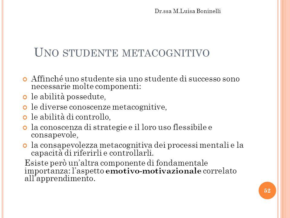 Uno studente metacognitivo