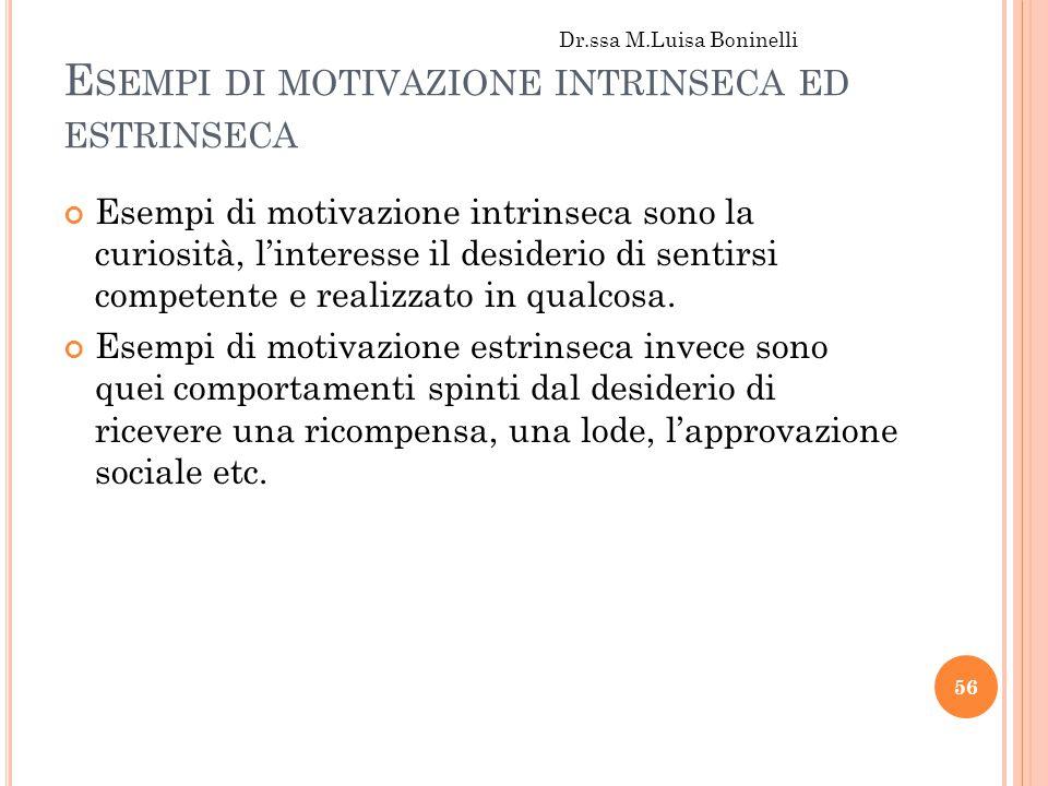 Esempi di motivazione intrinseca ed estrinseca