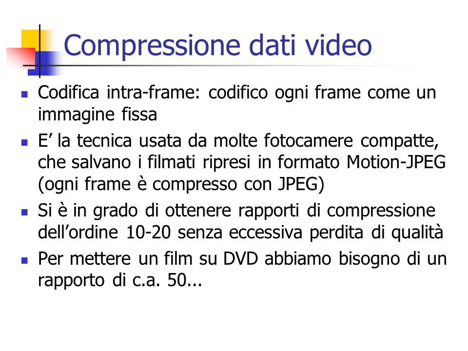 Compressione dati video