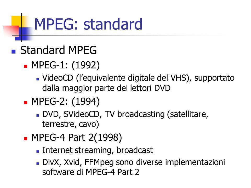 MPEG: standard Standard MPEG MPEG-1: (1992) MPEG-2: (1994)