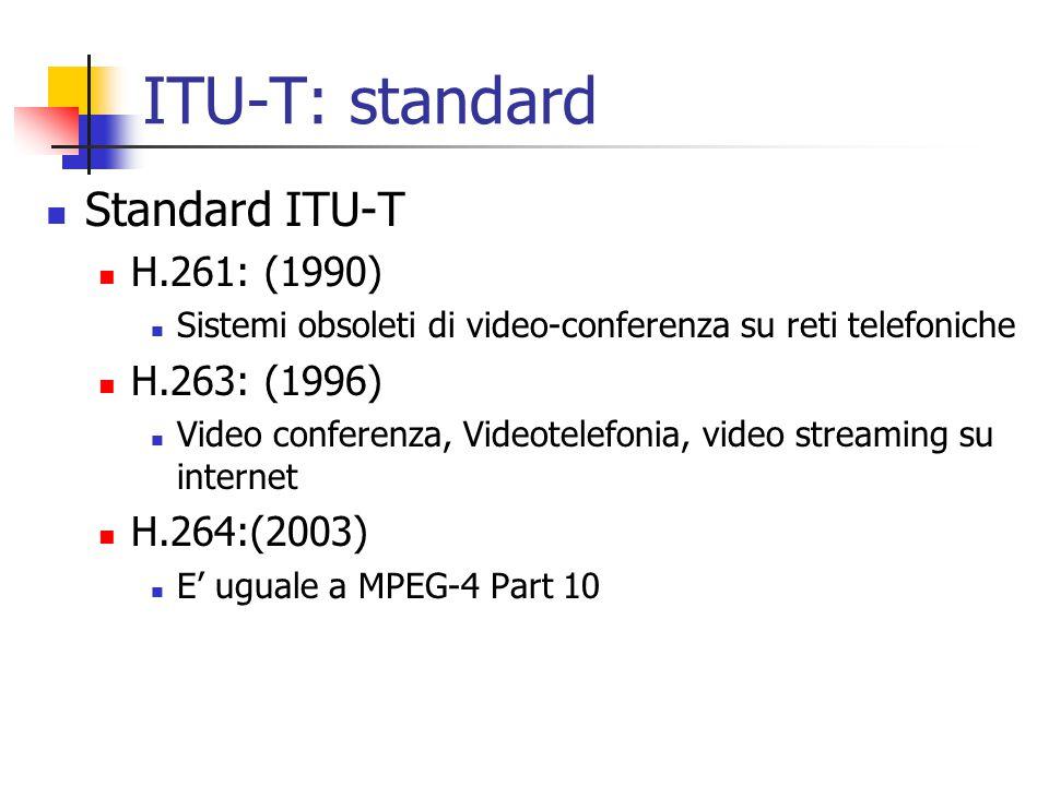 ITU-T: standard Standard ITU-T H.261: (1990) H.263: (1996)