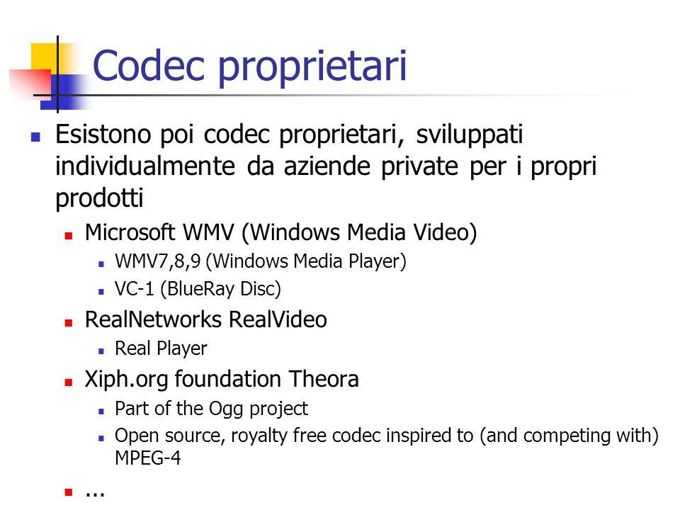 Codec proprietari Esistono poi codec proprietari, sviluppati individualmente da aziende private per i propri prodotti.