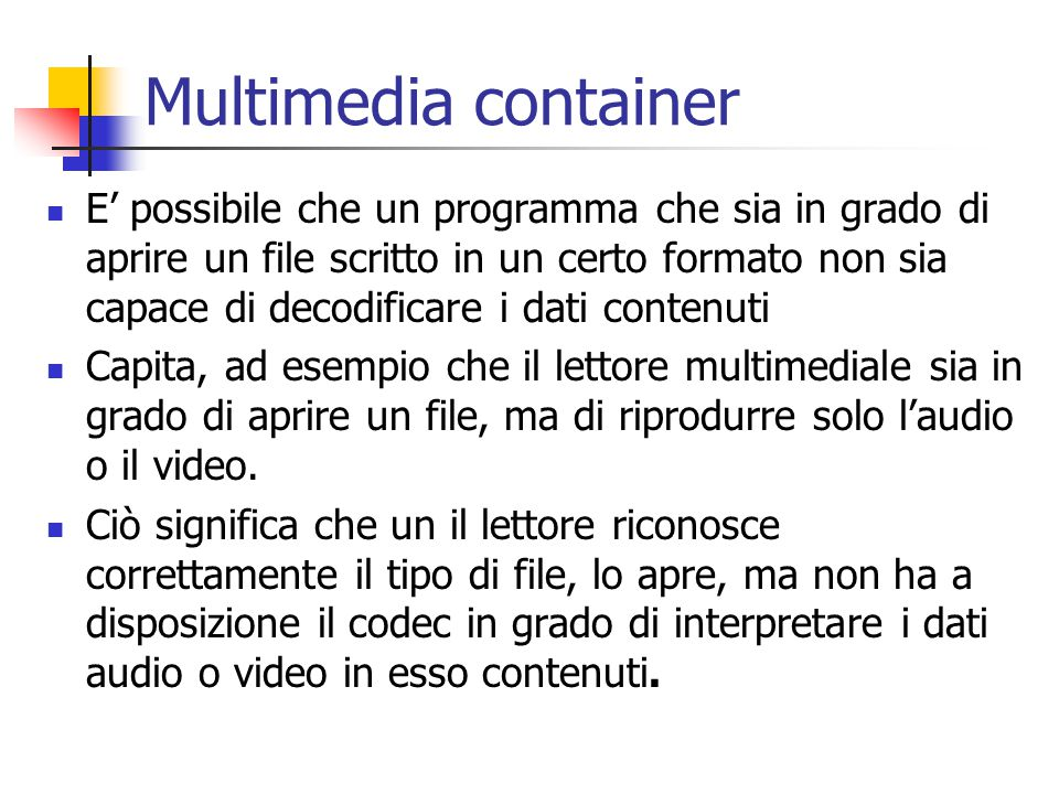 Multimedia container