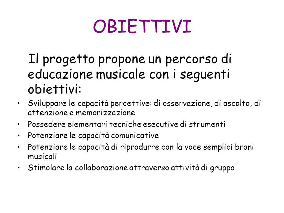 OBIETTIVI Il progetto propone un percorso di educazione musicale con i seguenti obiettivi: