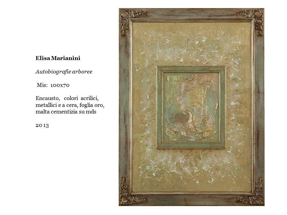 Elisa Marianini Autobiografie arboree. Mis: 100x70. Encausto, colori acrilici, metallici e a cera, foglia oro, malta cementizia su mds.