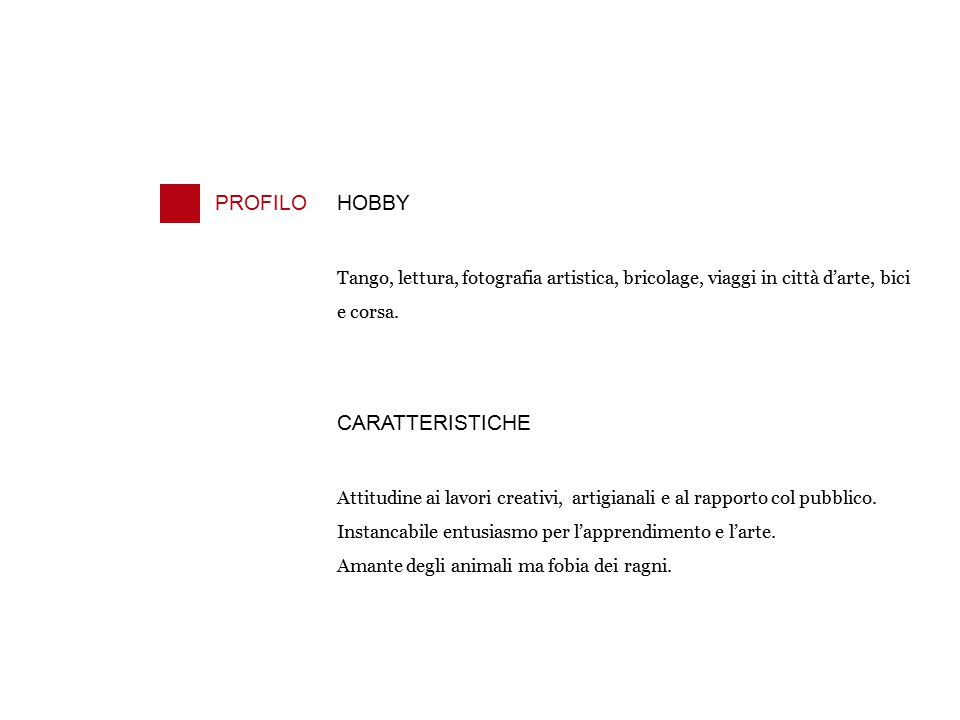 PROFILO HOBBY CARATTERISTICHE