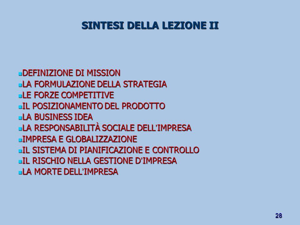 SINTESI DELLA LEZIONE II