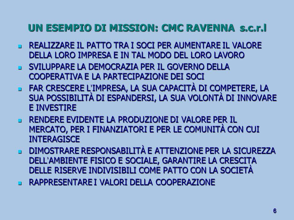 UN ESEMPIO DI MISSION: CMC RAVENNA s.c.r.l
