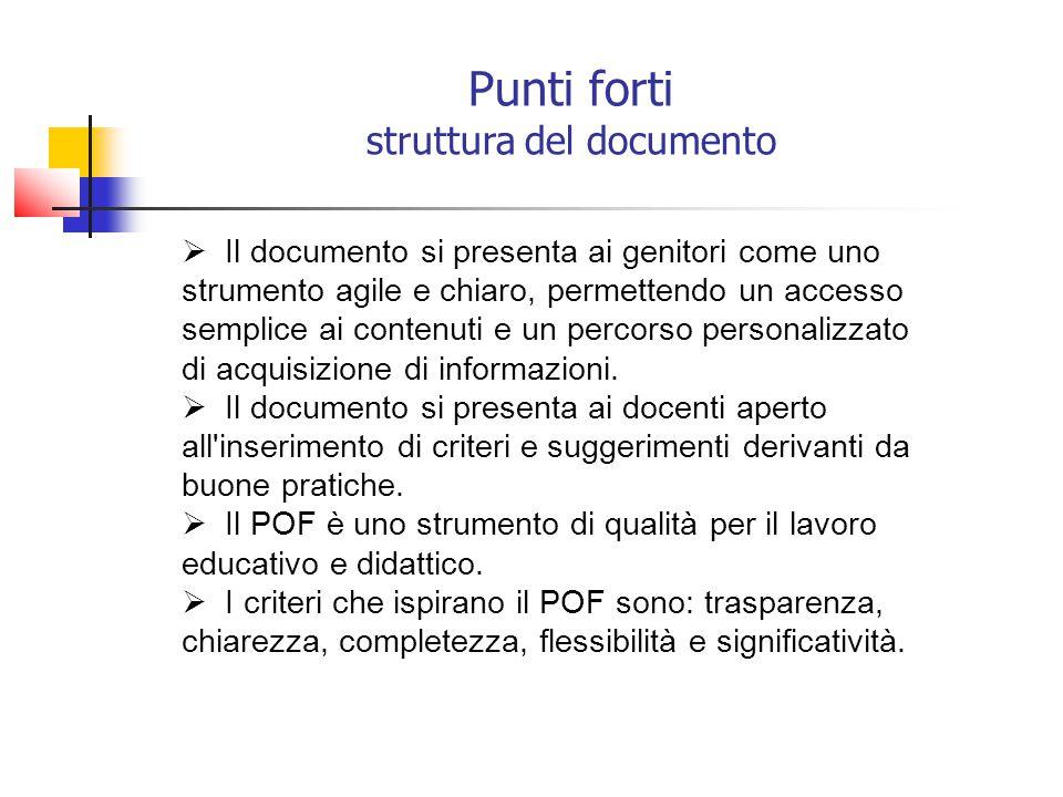 Punti forti struttura del documento