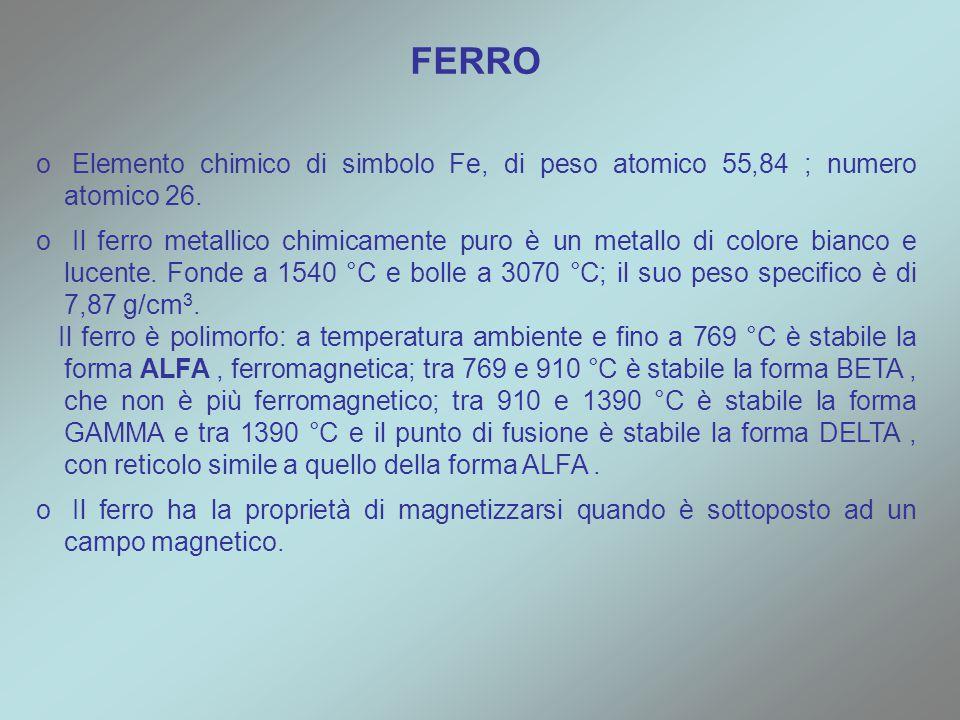 FERRO Elemento chimico di simbolo Fe, di peso atomico 55,84 ; numero atomico 26.