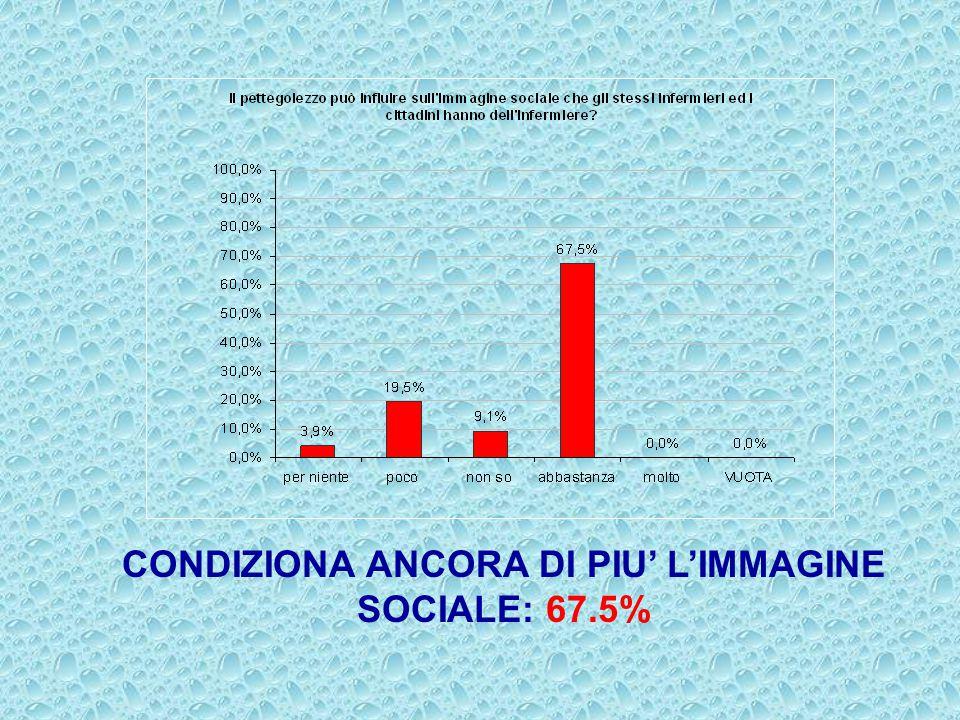 CONDIZIONA ANCORA DI PIU' L'IMMAGINE SOCIALE: 67.5%
