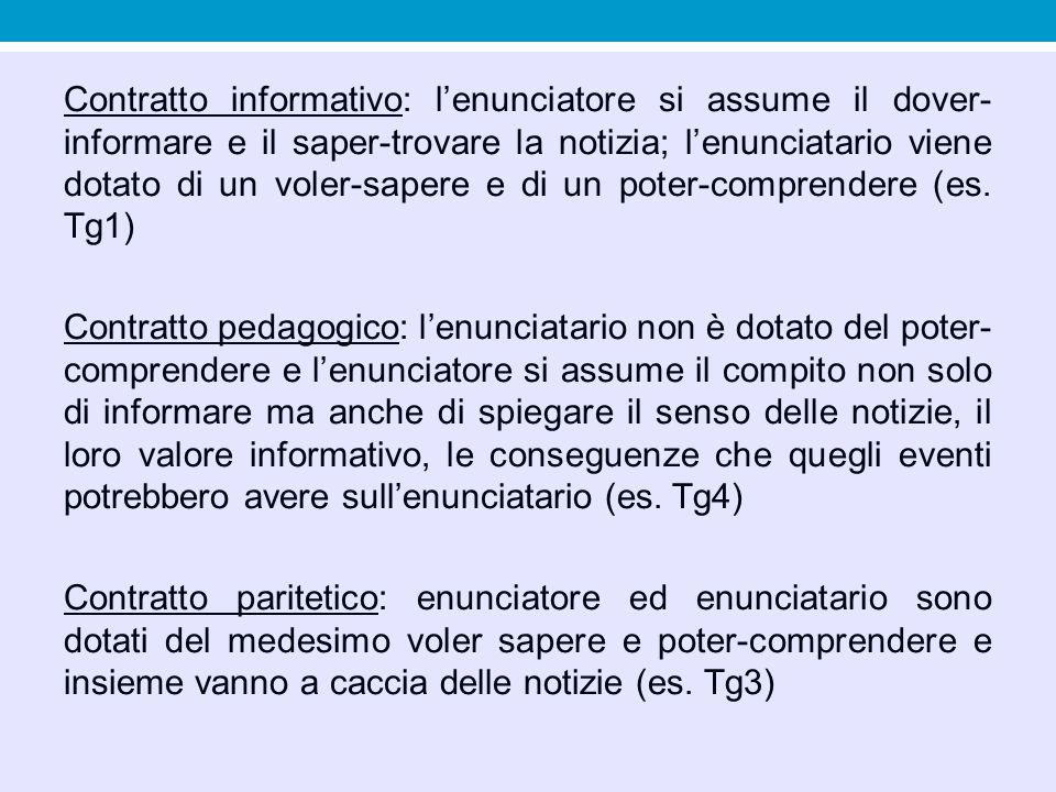 Contratto informativo: l'enunciatore si assume il dover-informare e il saper-trovare la notizia; l'enunciatario viene dotato di un voler-sapere e di un poter-comprendere (es. Tg1)