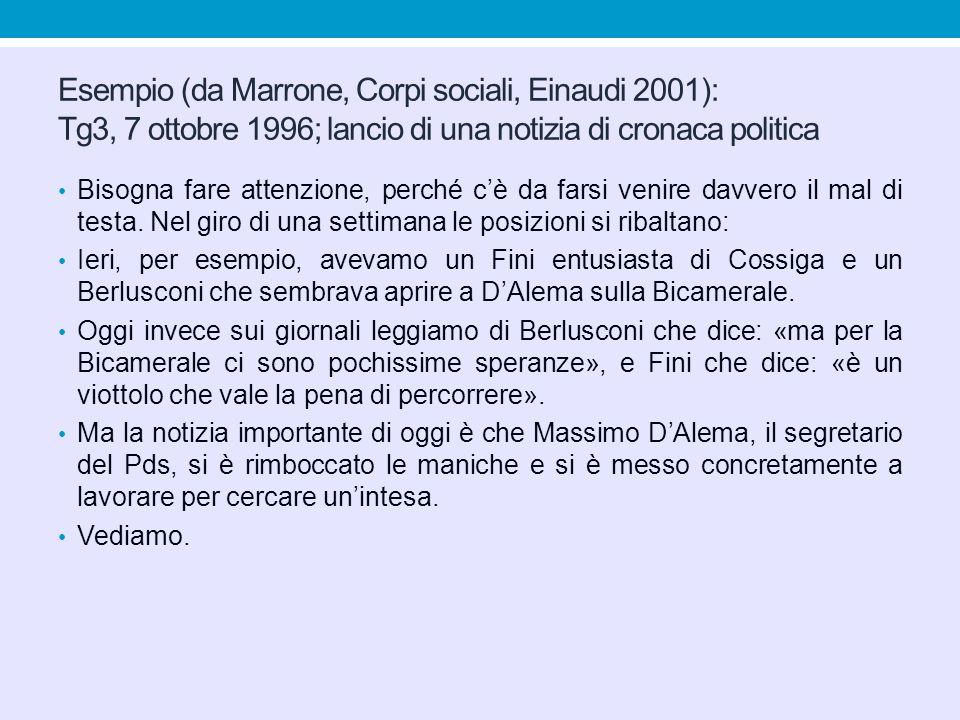 Esempio (da Marrone, Corpi sociali, Einaudi 2001): Tg3, 7 ottobre 1996; lancio di una notizia di cronaca politica