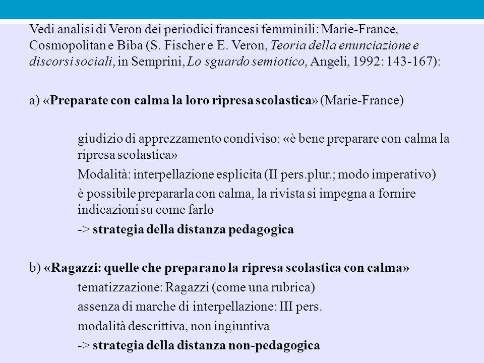 Vedi analisi di Veron dei periodici francesi femminili: Marie-France, Cosmopolitan e Biba (S.