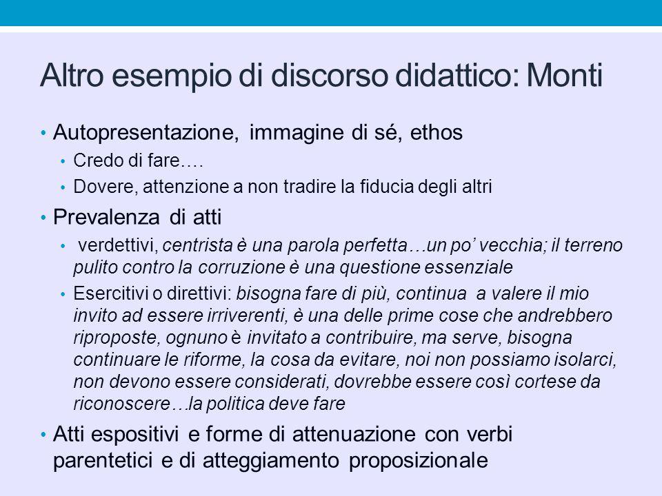 Altro esempio di discorso didattico: Monti