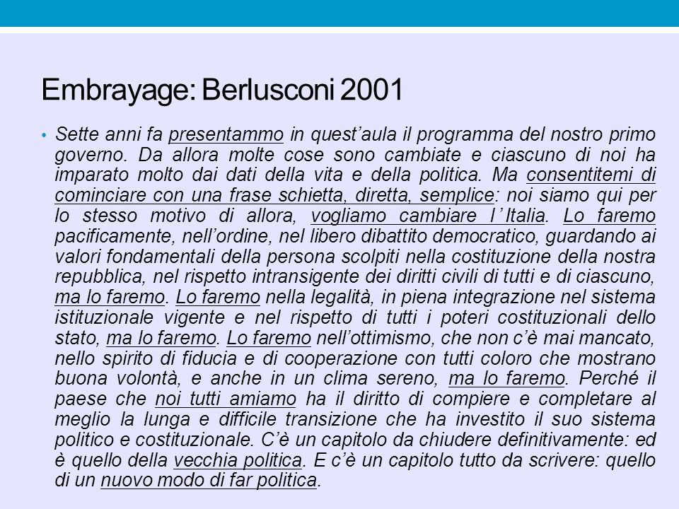 Embrayage: Berlusconi 2001
