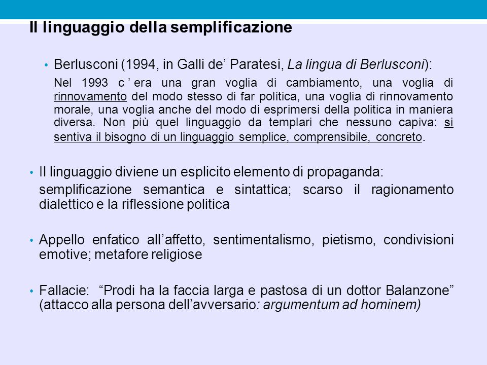 Il linguaggio della semplificazione