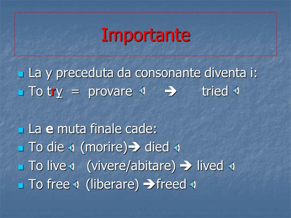 Importante La y preceduta da consonante diventa i: