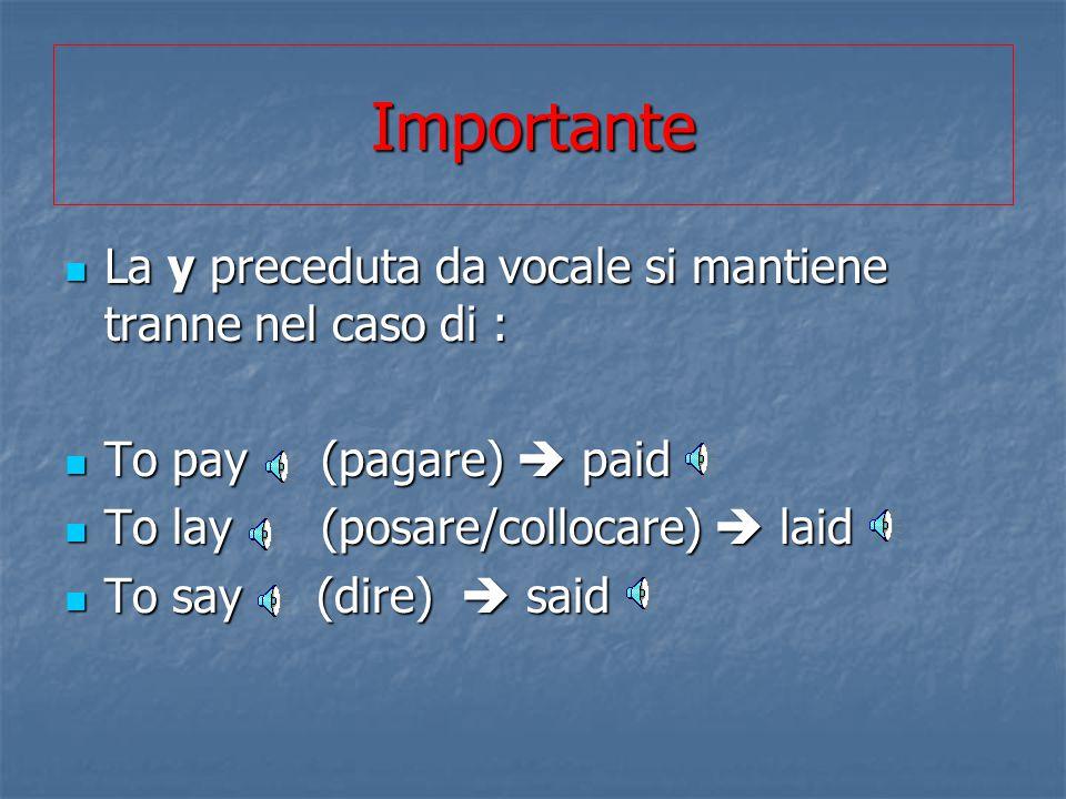 Importante La y preceduta da vocale si mantiene tranne nel caso di :