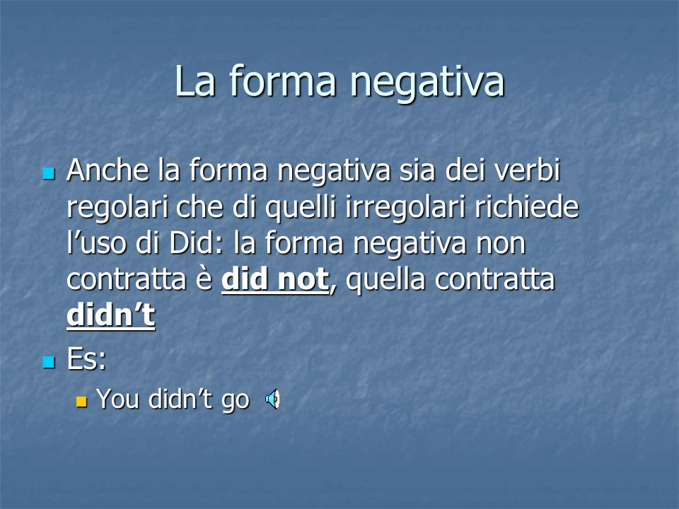 La forma negativa
