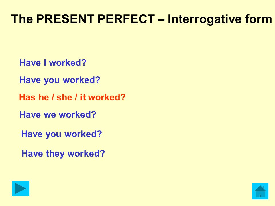 The PRESENT PERFECT – Interrogative form