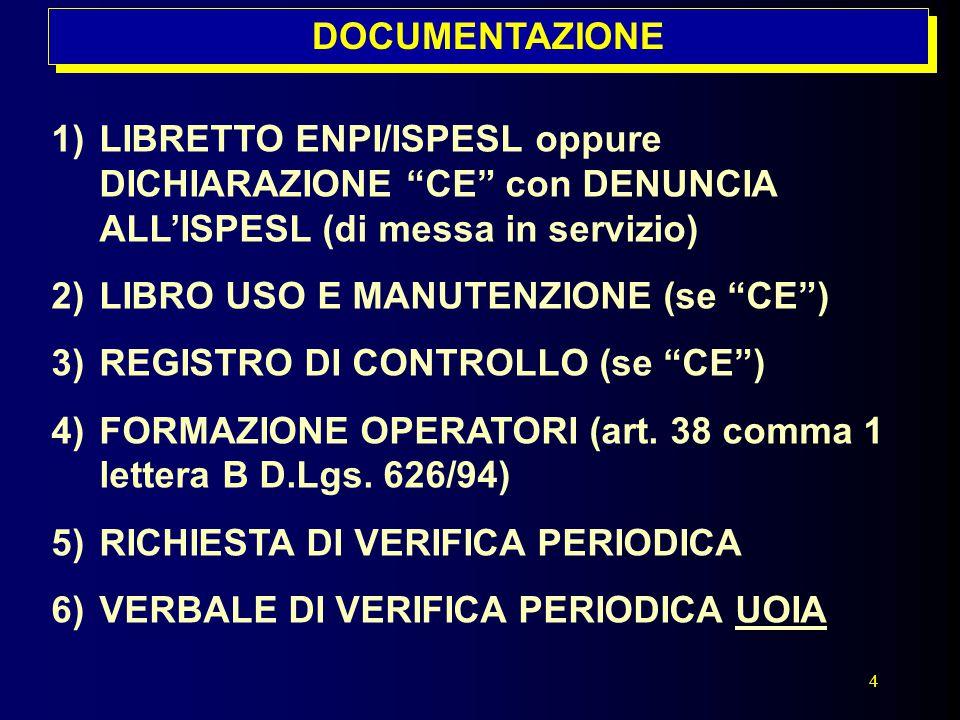 DOCUMENTAZIONE LIBRETTO ENPI/ISPESL oppure DICHIARAZIONE CE con DENUNCIA ALL'ISPESL (di messa in servizio)