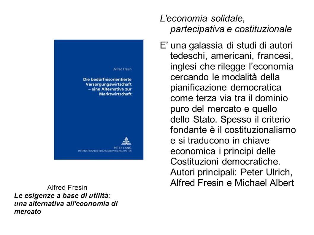 L'economia solidale, partecipativa e costituzionale