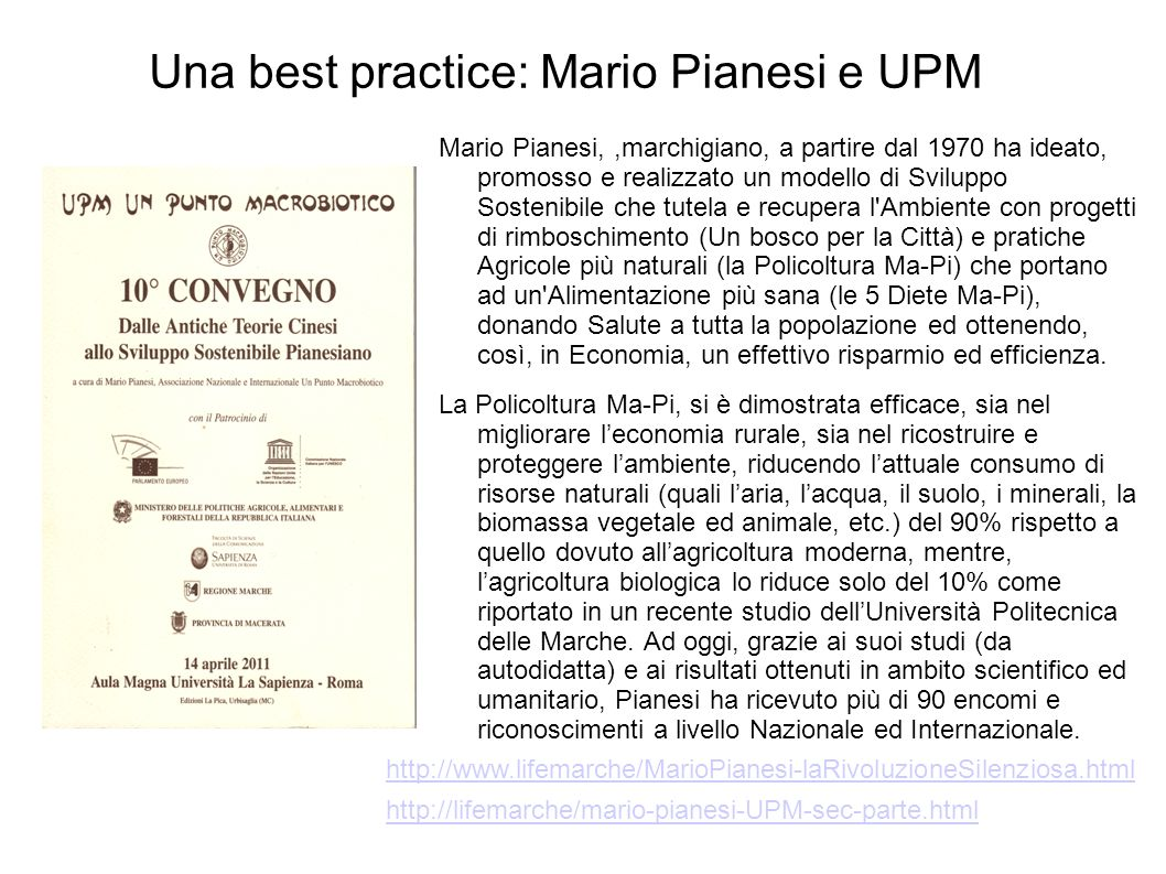Una best practice: Mario Pianesi e UPM