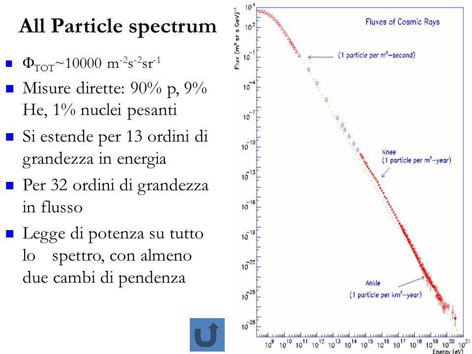 All Particle spectrum Misure dirette: 90% p, 9% He, 1% nuclei pesanti