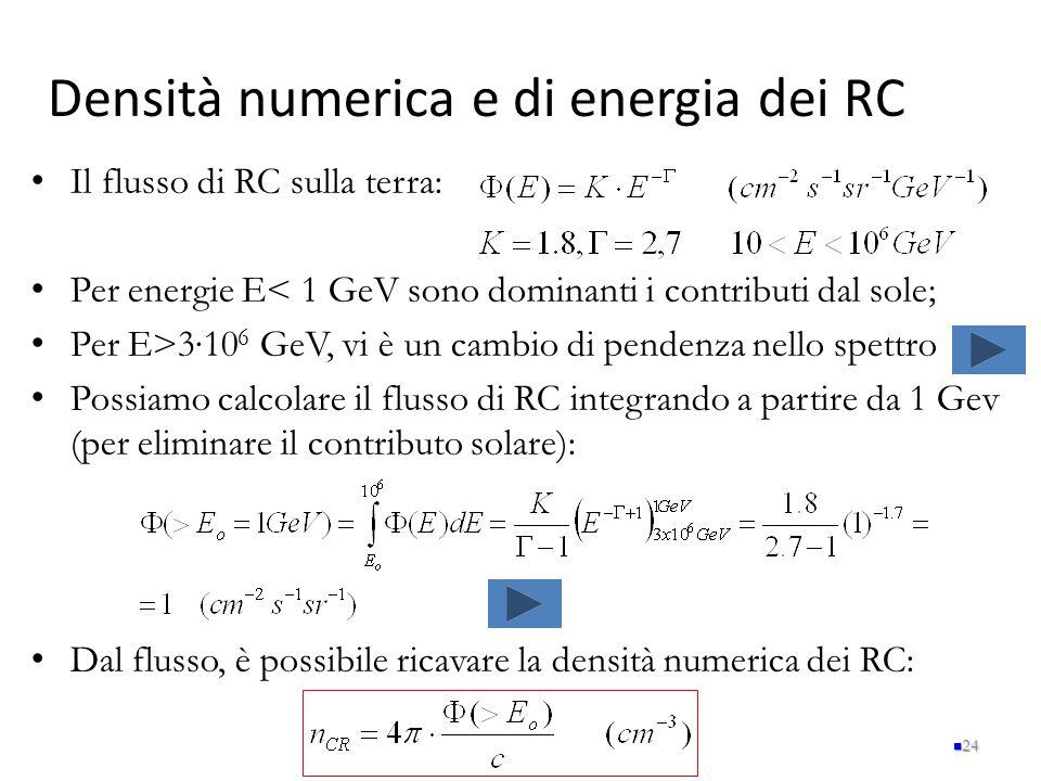 Densità numerica e di energia dei RC
