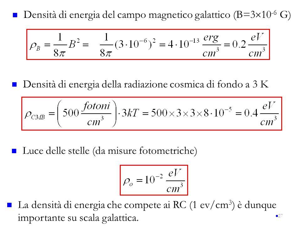 Densità di energia del campo magnetico galattico (B=310-6 G)