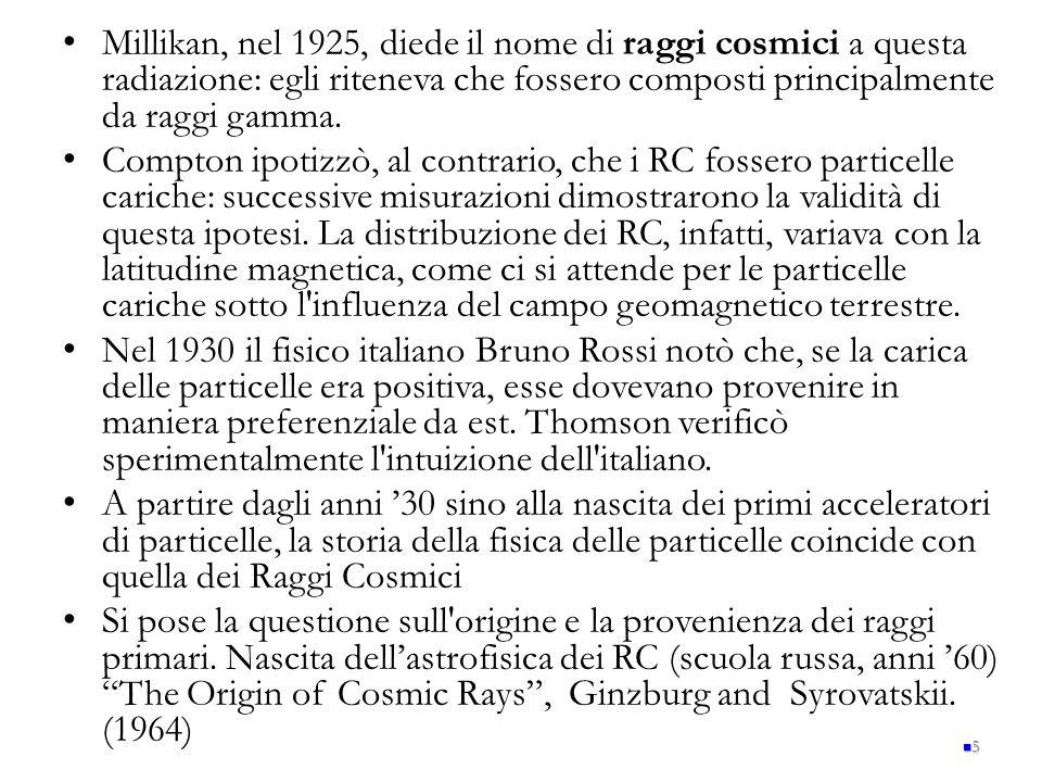 Millikan, nel 1925, diede il nome di raggi cosmici a questa radiazione: egli riteneva che fossero composti principalmente da raggi gamma.