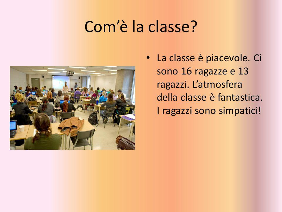 Com'è la classe. La classe è piacevole. Ci sono 16 ragazze e 13 ragazzi.