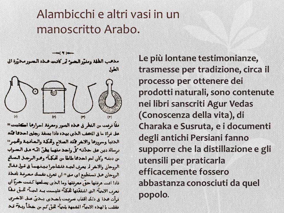 Alambicchi e altri vasi in un manoscritto Arabo.