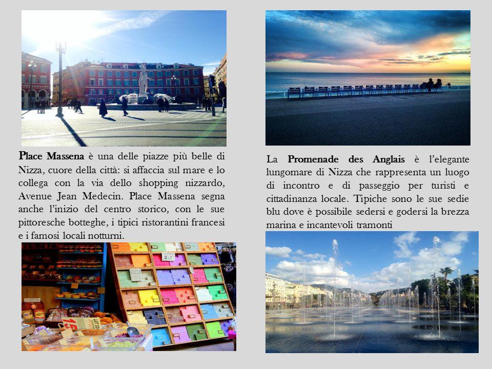 Place Massena è una delle piazze più belle di Nizza, cuore della città: si affaccia sul mare e lo collega con la via dello shopping nizzardo, Avenue Jean Medecin. Place Massena segna anche l'inizio del centro storico, con le sue pittoresche botteghe, i tipici ristorantini francesi e i famosi locali notturni.
