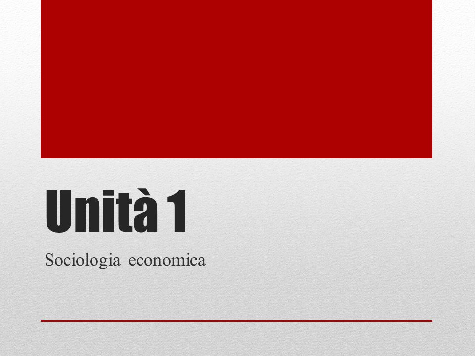 Unità 1 Sociologia economica