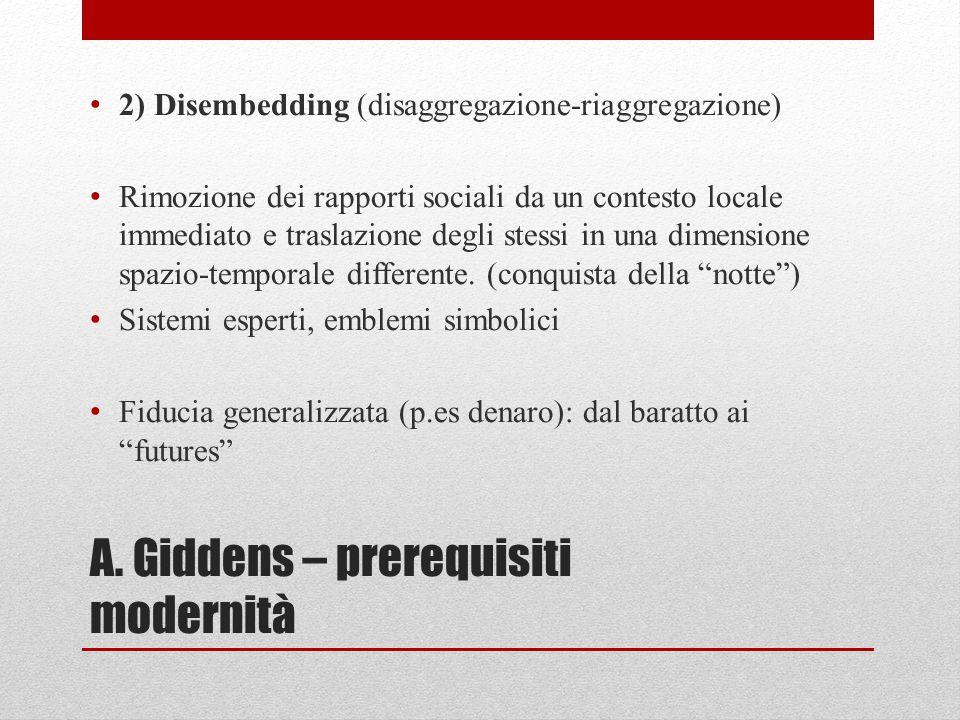 A. Giddens – prerequisiti modernità