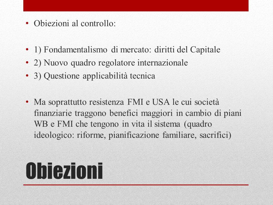 Obiezioni Obiezioni al controllo: