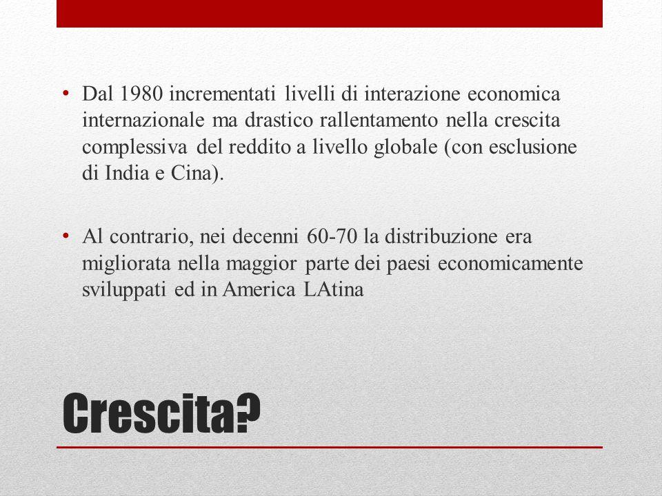 Dal 1980 incrementati livelli di interazione economica internazionale ma drastico rallentamento nella crescita complessiva del reddito a livello globale (con esclusione di India e Cina).
