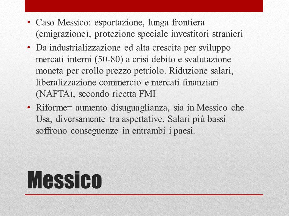 Caso Messico: esportazione, lunga frontiera (emigrazione), protezione speciale investitori stranieri