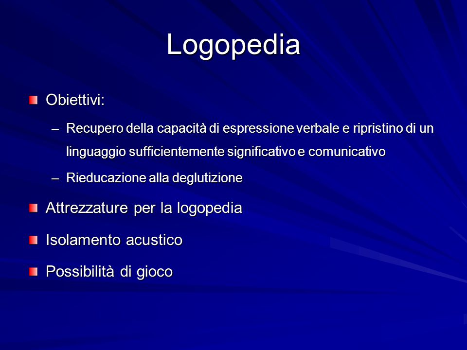 Logopedia Obiettivi: Attrezzature per la logopedia Isolamento acustico
