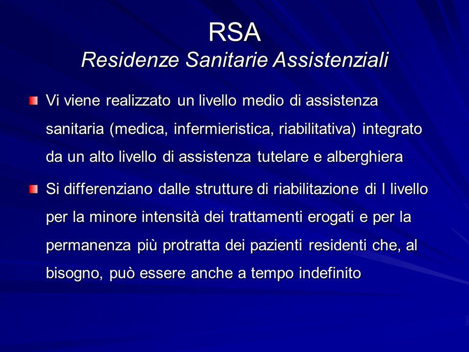 RSA Residenze Sanitarie Assistenziali