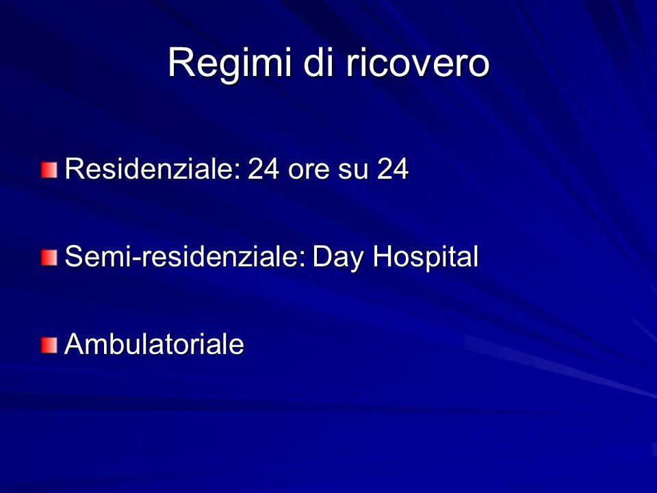 Regimi di ricovero Residenziale: 24 ore su 24