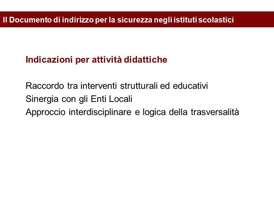 Il Documento di indirizzo per la sicurezza negli istituti scolastici