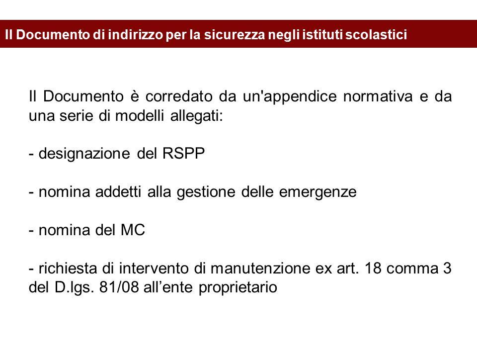 nomina addetti alla gestione delle emergenze nomina del MC