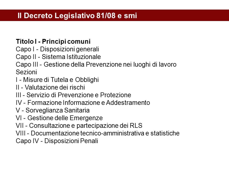 Il Decreto Legislativo 81/08 e smi
