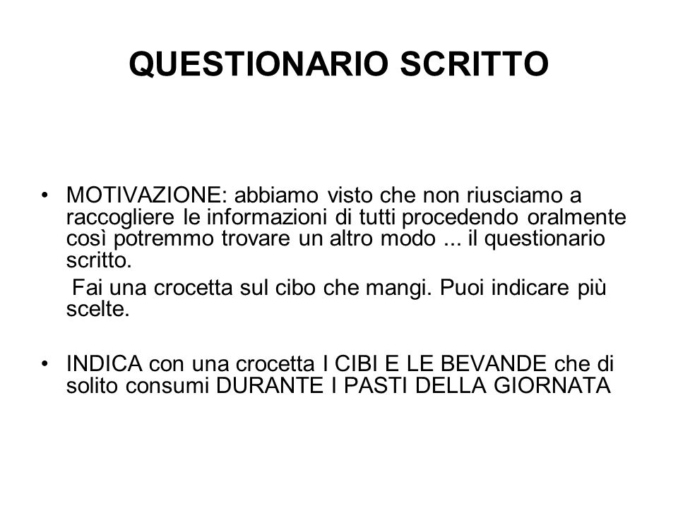 QUESTIONARIO SCRITTO